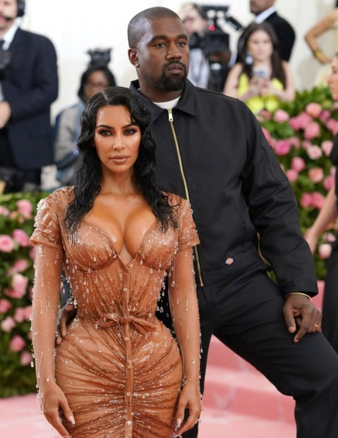 Kim Kardashian West and Kanye West arrive for the 2019 Met Gala in New York