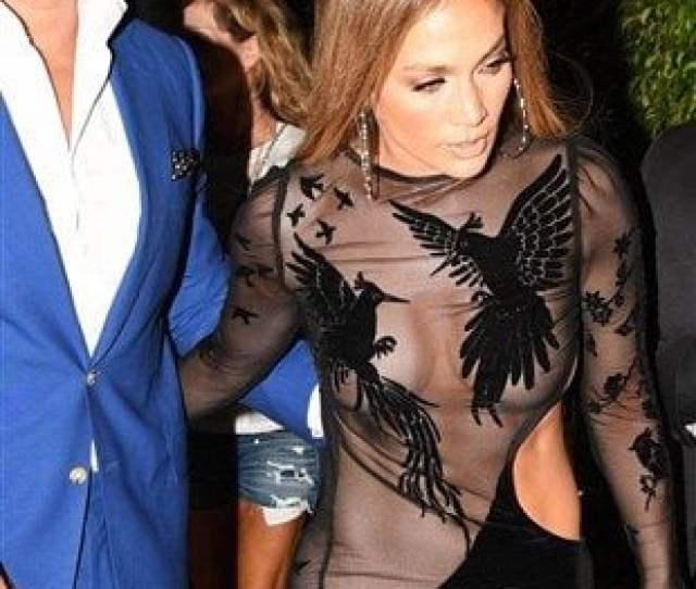 Jennifer Lopez Double Nip Slip In A See Thru Dress