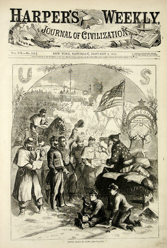 "Santa Claus delivers to Union soldiers, ""Santa Claus in Camp"" - Thomas Nast, Harper's Weekly, Jan 3, 1863"