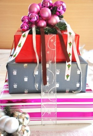 Stacked Gifts Creative Christmas Centerpiece Idea