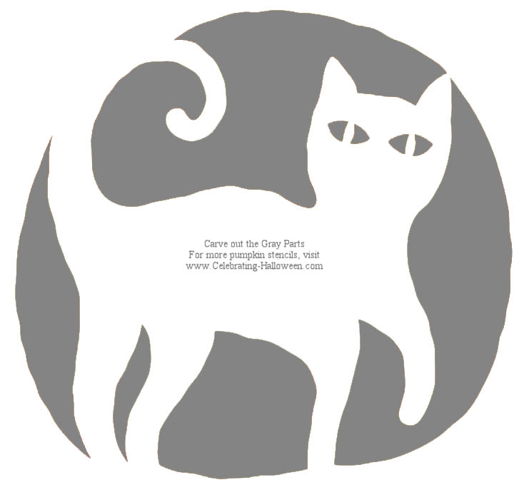 Black Cat Pumpkin Carving Stencil - Celebrating Halloween