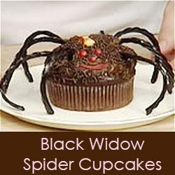 Black Widow Spider Cupcakes - Halloween Cupcake Recipe