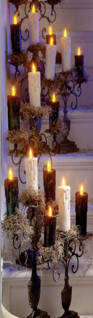 Halloween Party Stairs/Steps Decor with Black and White candles