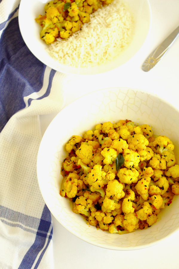 Pan roasted Cauliflower with whole spices