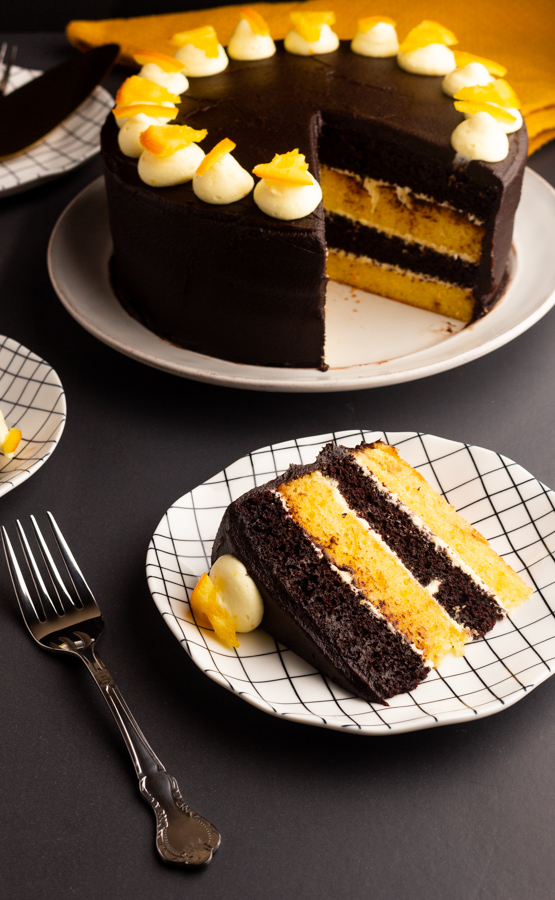 chocolate orange cake with orange icing