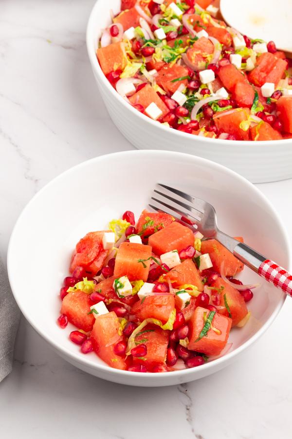 Watermelon & Pomegranate Salad with Feta Recipe