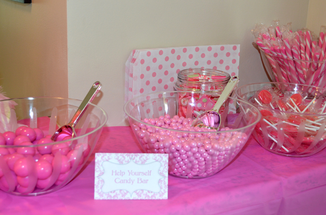 Pink Damask Birthday Party Candy Table