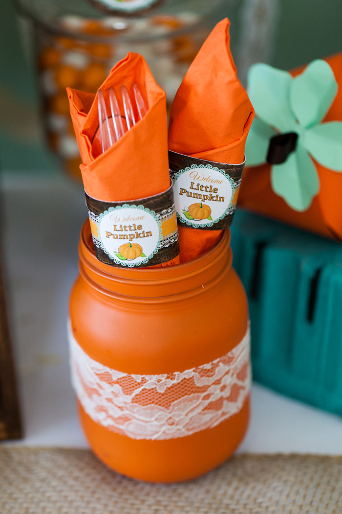 Rustic Fall Baby Shower Ideas - Little Pumpkin Printable Set, Napkin Rings