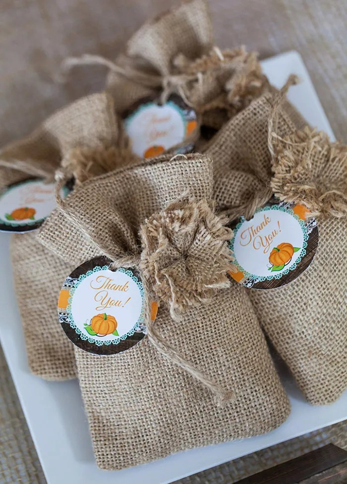 Rustic Fall Baby Shower Ideas - Little Pumpkin Printable Set, Favor tags
