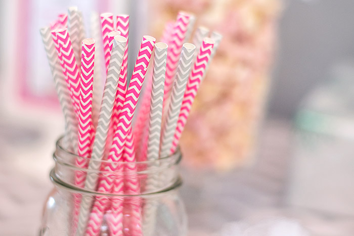 Pink and Silver Chevron Paper Straws