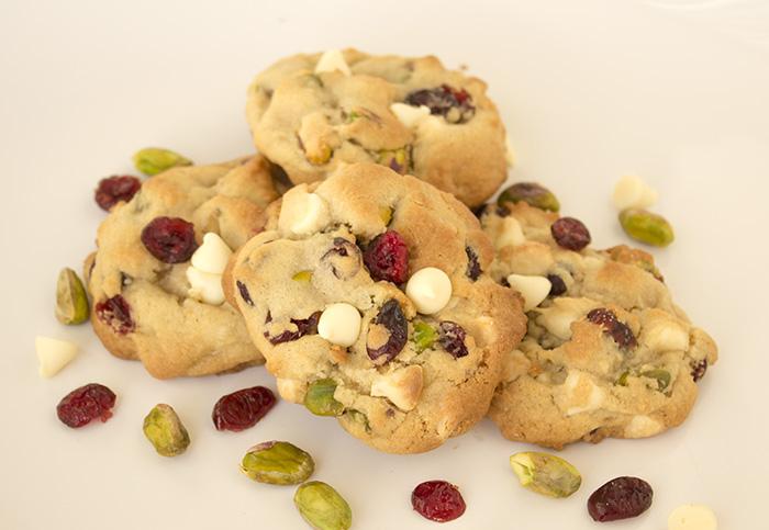 White Chocolate Cranberry Pistachio Cookies