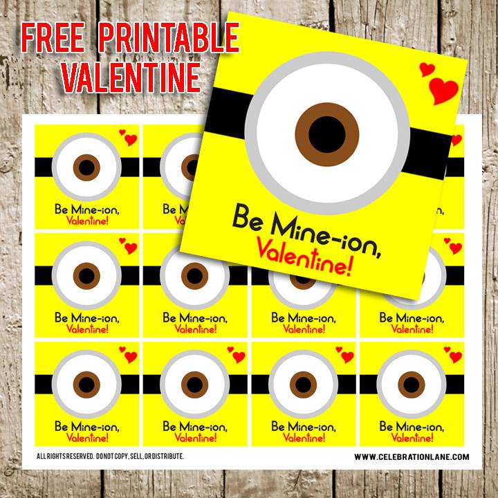 FREE Minion Printable Valentine Tags