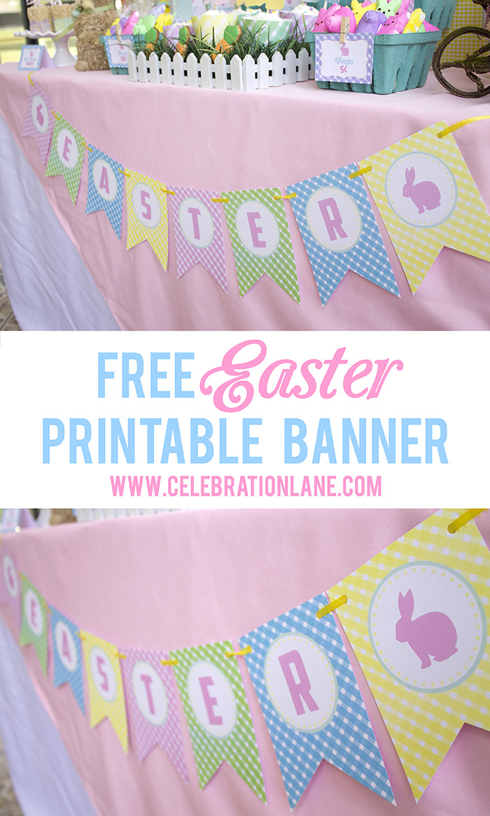 Free Easter Printable Banner - the pastel gingham print is so cute!