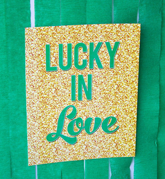 """St. Patrick's Day """"Lucky In Love"""" Party Sign"""