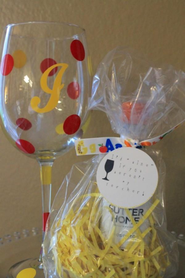 Teacher Appreciation Day Gift Ideas - wine glass gift