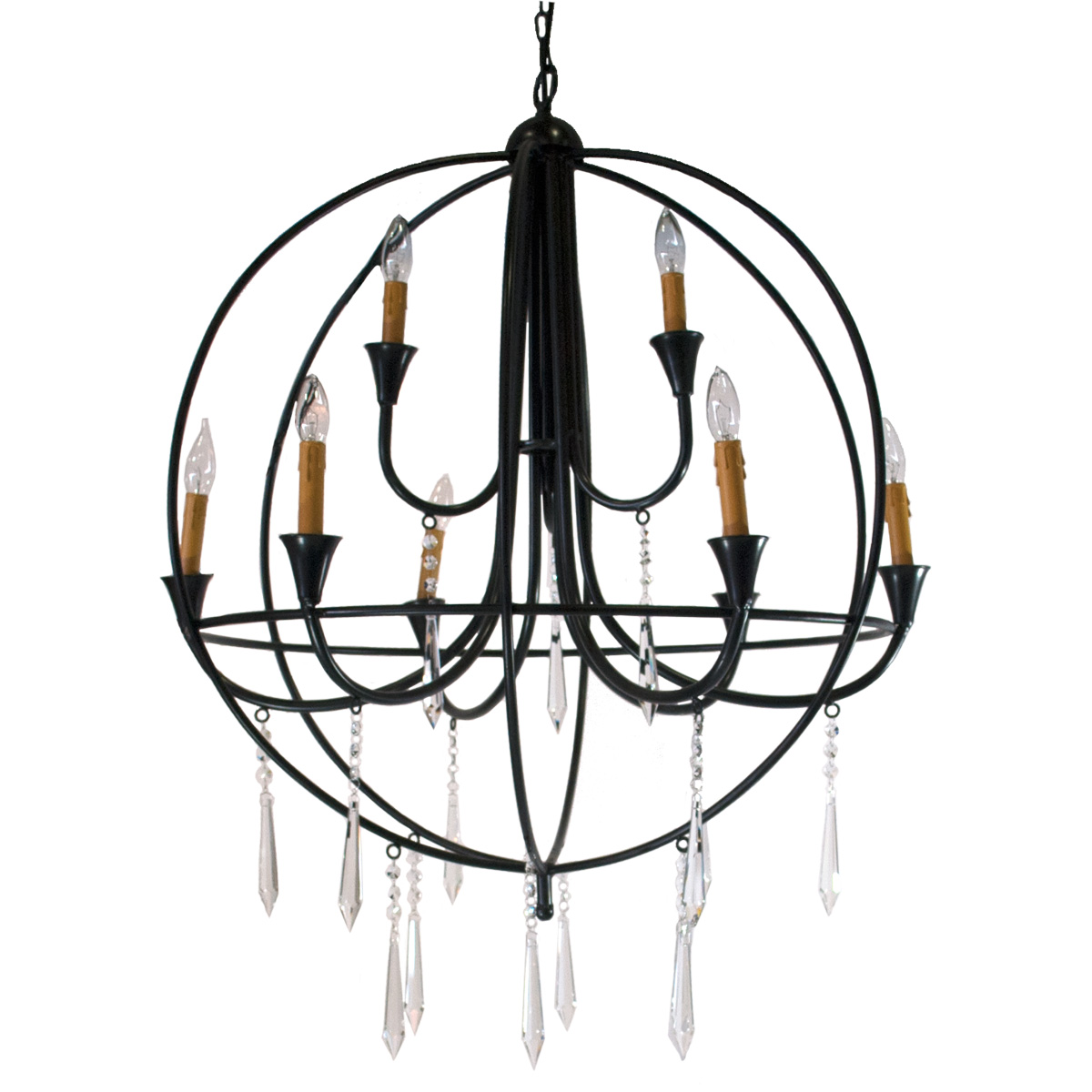 Wrought Iron Crystal Orb Chandelier