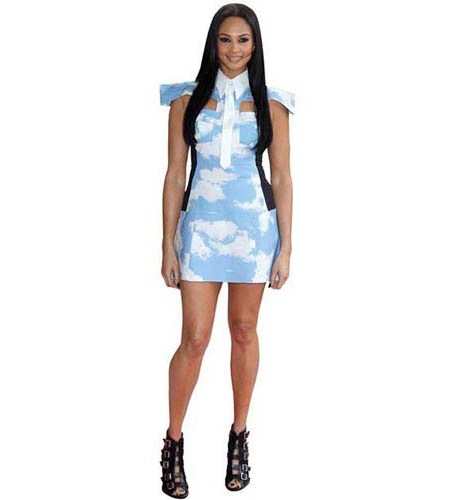 A Lifesize Cardboard Cutout of Alesha Dixon wearing a short dress