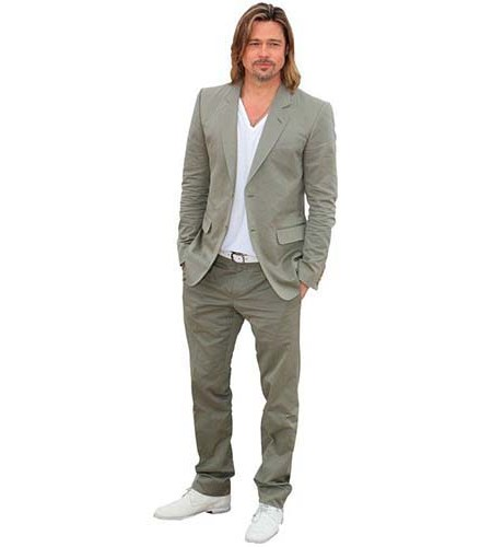 A Lifesize Cardboard Cutout of Brad Pitt wearing a casual suit