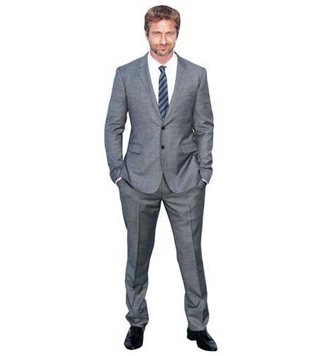 A Lifesize Cardboard Cutout of Gerard Butler wearing a suit and tie