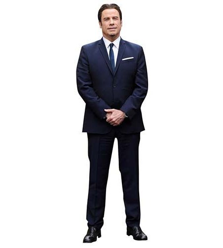 A Lifesize Cardboard Cutout of John Travolta wearing suit and tie