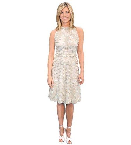 A Lifesize Cardboard Cutout of Jennifer Aniston wearing a pretty dress