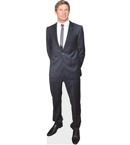 A Lifesize Cardboard Cutout of Jenson Button wearing a suit and tie