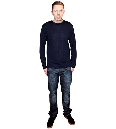 A Lifesize Cardboard Cutout of Professor Green wearing jeans and a jumper