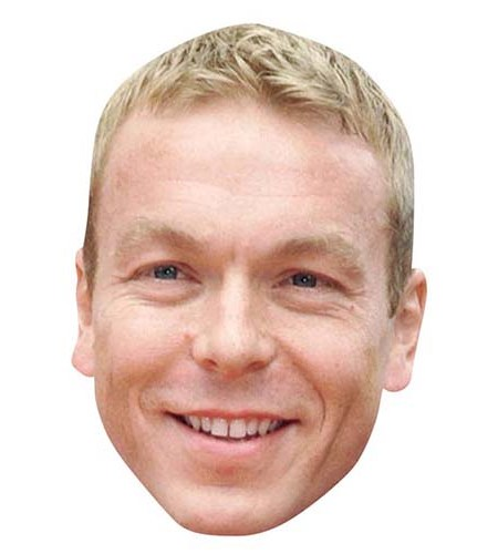 A Cardboard Celebrity Big Head of Chris Hoy