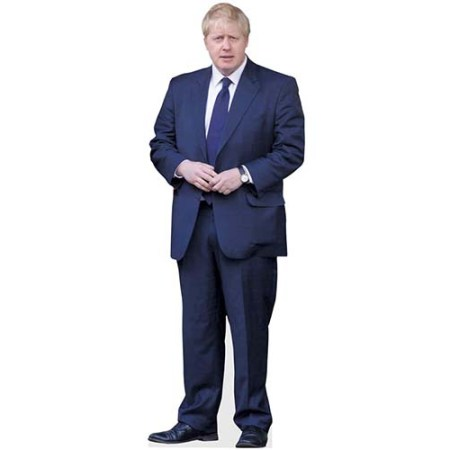 A Lifesize Cardboard Cutout of Boris Johnson wearing a blue suit