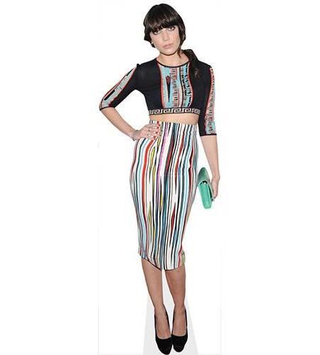A Lifesize Cardboard Cutout of Daisy Lowe wearing a stripy dress