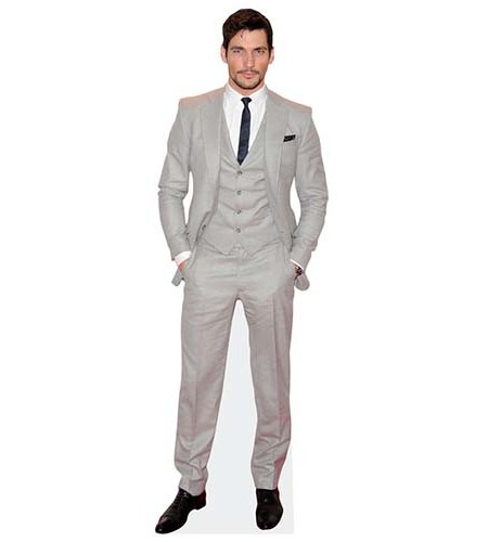 A Lifesize Cardboard Cutout of David Gandy wearing a pale suit