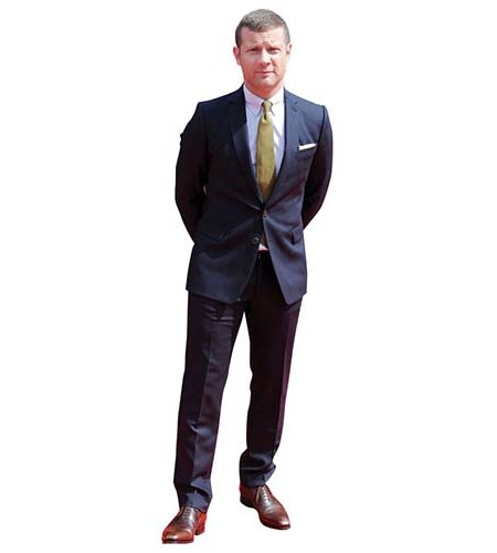 A Lifesize Cardboard Cutout of Dermot O'Leary wearing suit and tie