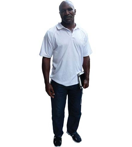 A Lifesize Cardboard Cutout of Evander Holyfield wearing a white t-shirt