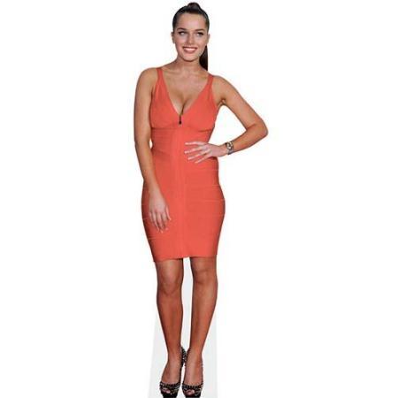 A Lifesize Cardboard Cutout of Helen Flanagan wearing an orange dress