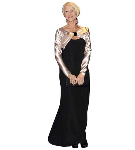 A Lifesize Cardboard Cutout of Helen Mirren wearing a long black dress