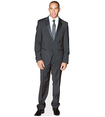 A Lifesize Cardboard Cutout of Lewis Hamilton suited and booted