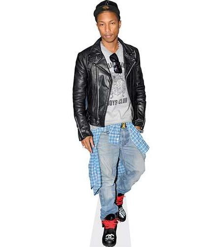 A Lifesize Cardboard Cutout of Pharrell Williams wearing jeans