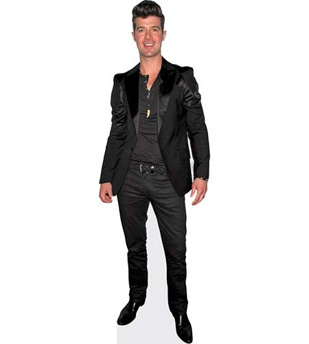 A Lifesize Cardboard Cutout of Robin Thicke wearing a dark suit