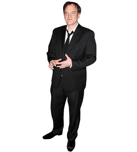 A Lifesize Cardboard Cutout of Quentin Taratino wearing a dark suit
