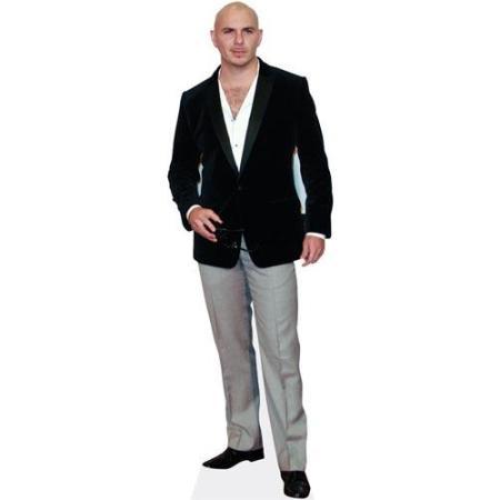 A Lifesize Cardboard Cutout of Pitbull wearing blazer and jeans