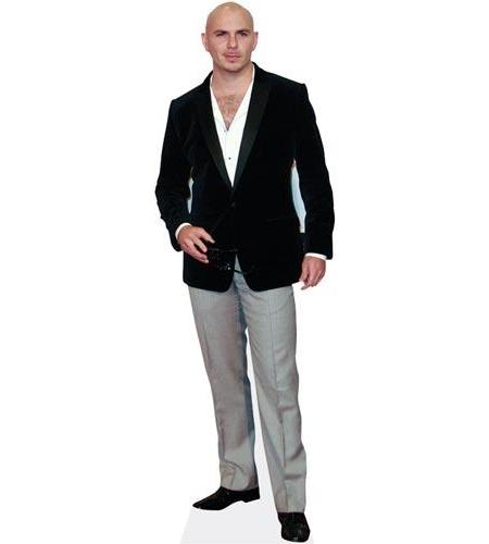A Lifesize Cardboard Cutout of Pitbull wearing blazer and jeans