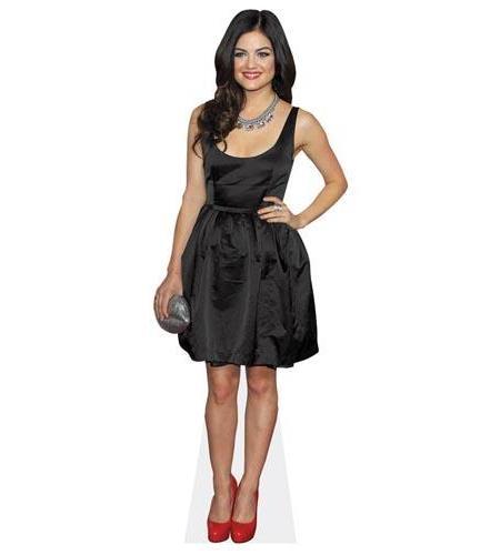 A Lifesize Cardboard Cutout of Lucy Hale wearing a black dress