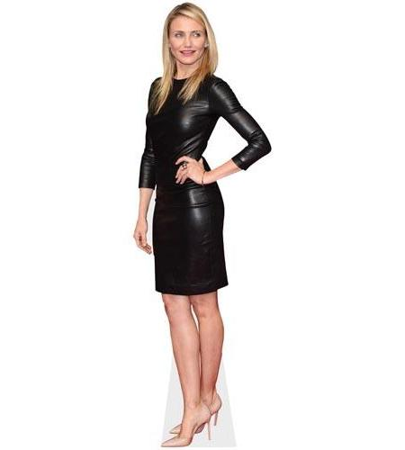 A Lifesize Cardboard Cutout of Cameron Diaz wearing leather
