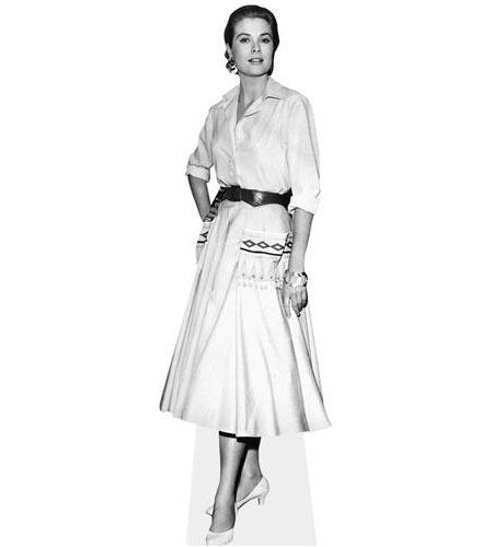 A Lifesize Cardboard Cutout of Grace Kelly in black and white