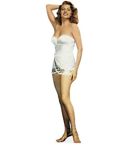 A Lifesize Cardboard Cutout of Rita Hayworth wearing a swimsuit