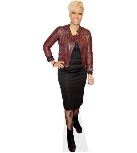 A Lifesize Cardboard Cutout of Emeli Sande wearing a leather jacket