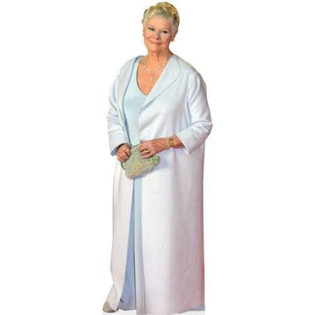 A Lifesize Cardboard Cutout of Judi Dench wearing a gown