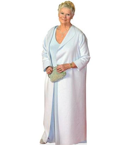 A Lifesize Cardboard Cutout of Judi Dench wearing a gown