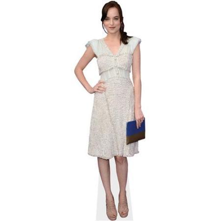 A Lifesize Cardboard Cutout of Dakota Johnson wearing a white dress