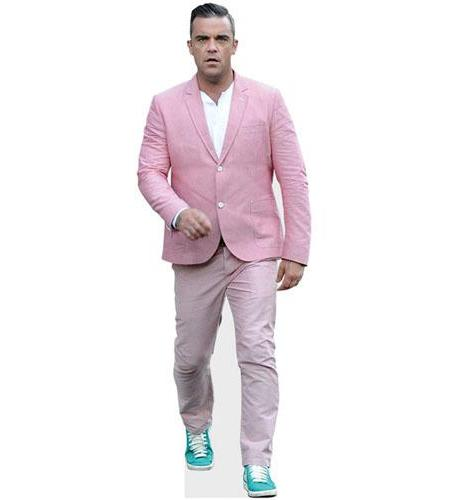 A Lifesize Cardboard Cutout of Robbie Williams wearing a pink suit